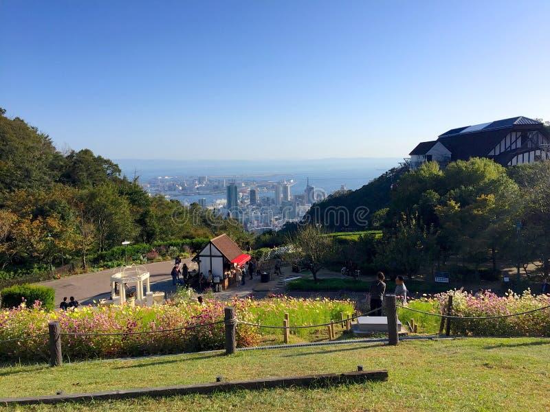 Piękny widok Kobe miasto od Ziołowego ogródu parka fotografia stock