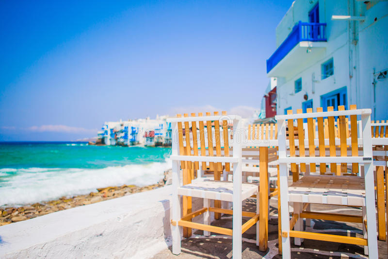 Piękny widok Mały Wenecja od restauraci w Mykonos wyspie w Grecja fotografia stock