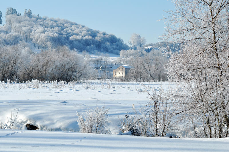 Piękny widok na lesie stary kościół na wierzchołku wzgórze zdjęcia royalty free