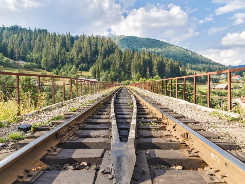 Piękny widok na poręczach na linia kolejowa moscie zdjęcie stock
