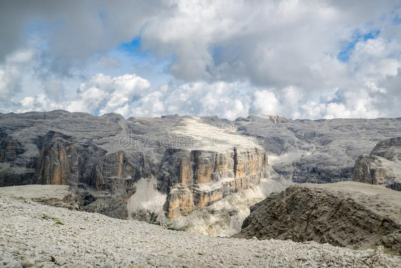 Piękny widok na Sella grupie w dolomitach obraz royalty free
