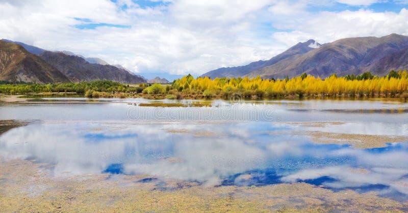 Piękny widok naturalny jezioro z wodnym odbiciem jaskrawy niebo, jesieni lasowi drzewa i góry tło, Sceniczna wycieczka T zdjęcia royalty free