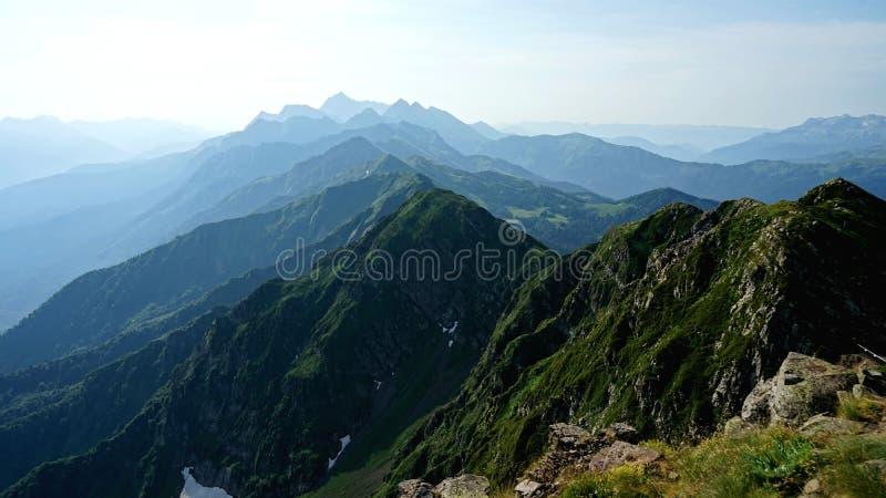 Piękny widok od szczytu Czarna filar góra, Krasnaya Polyana obrazy stock