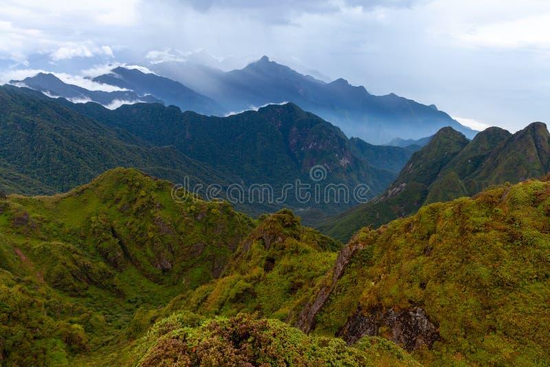 Piękny widok od szczytu Fansipan góra, Sapa, V zdjęcia royalty free