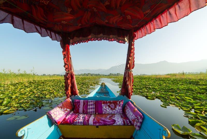 Piękny widok od tradycyjnej shikara łodzi na Dal jeziorze, Srinagar obraz royalty free