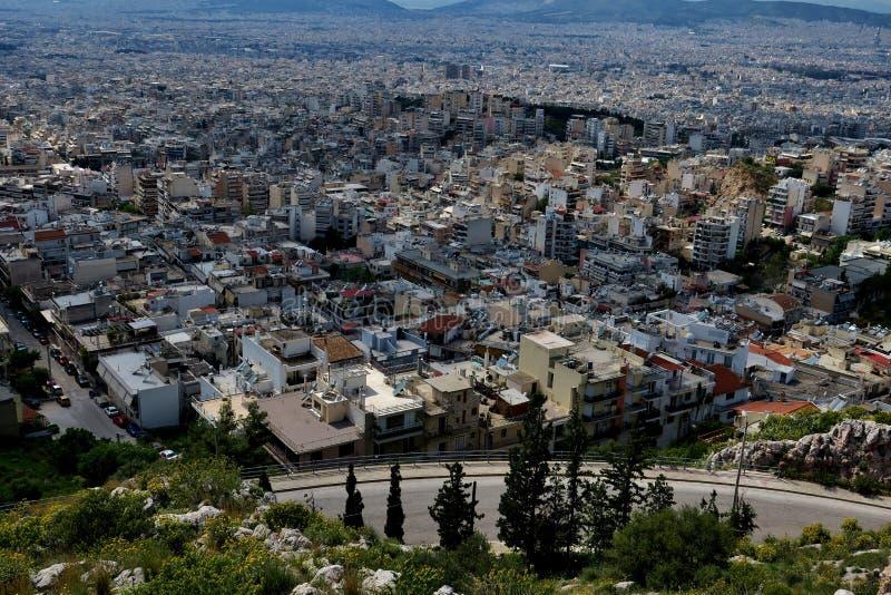 Piękny widok od wzrosta miasto w Grecja zdjęcia royalty free