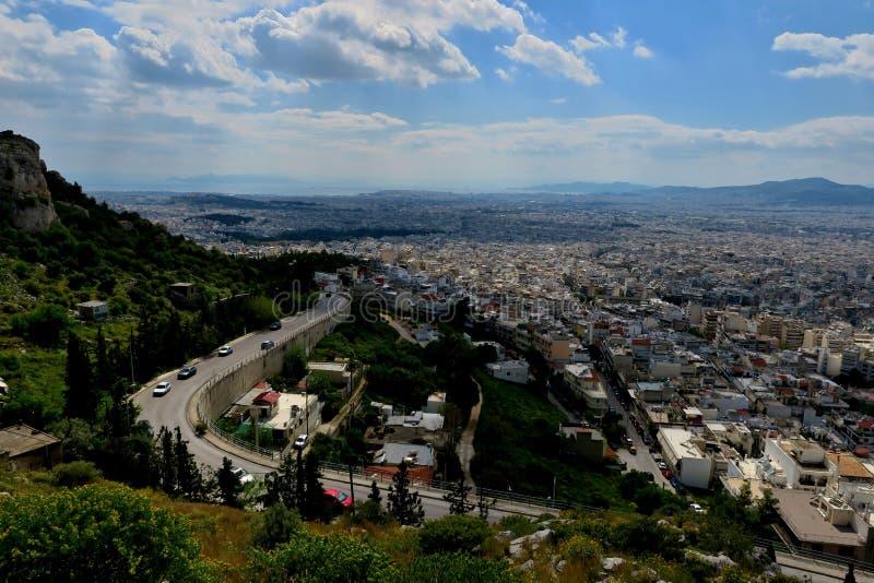 Piękny widok od wzrosta miasto w Grecja obraz royalty free