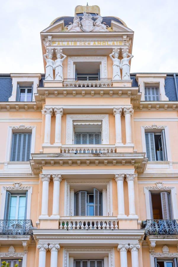 Piękny widok Palais des Anglais mieszkania przy światłem dziennym fotografia royalty free
