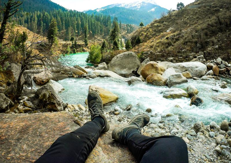 Piękny widok Parvati dolina zdjęcie royalty free