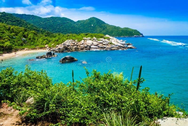 Piękny widok plaża przy Cabo San Juan, Tayrona Naturalny park narodowy, Kolumbia obraz stock