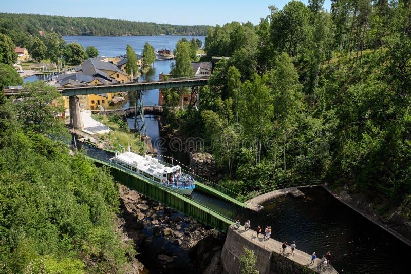Piękny widok przy łodzią w Dalsland kanale Szwecja zdjęcie stock