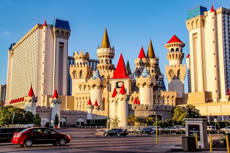 Pi?kny widok s?awny Excalibur hotel i kasyno w Las Vegas, Nevada fotografia royalty free