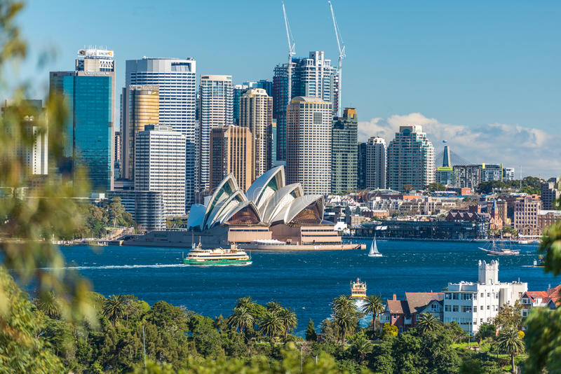 Piękny widok Sydney CBD i Sydney opera obrazy stock