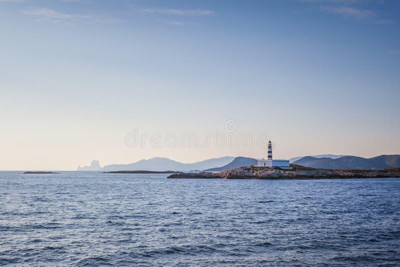 Piękny widok sylwetka Ibiza latarnia morska zdjęcie royalty free