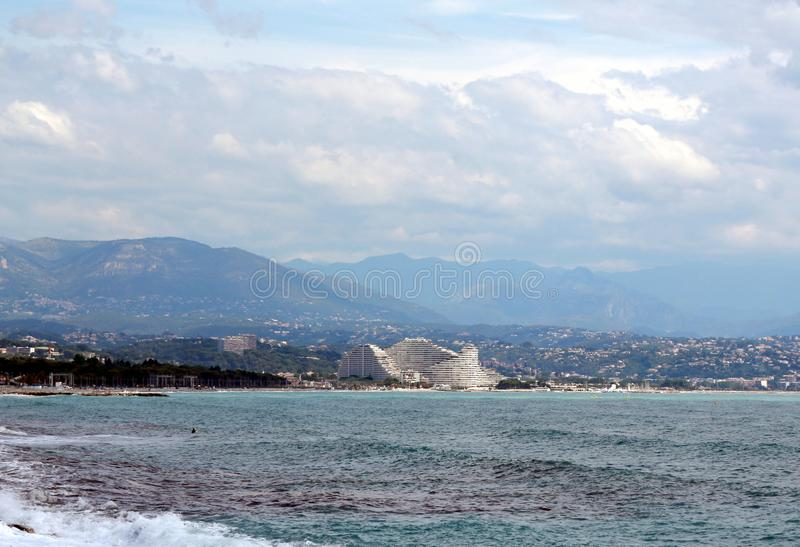 Piękny widok Villeneuve-Loubet - des od morza obrazy stock