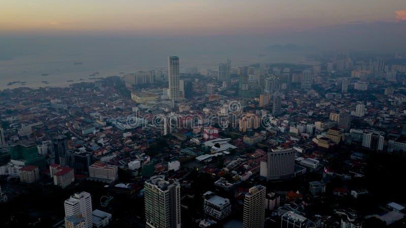 Piękny widok z lotu ptaka krajobrazowy pejzaż miejski Penang Malezja zdjęcie royalty free