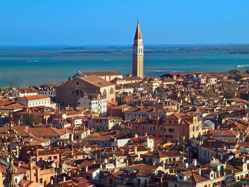 Piękny widok z lotu ptaka nad dachami Venice zdjęcie royalty free