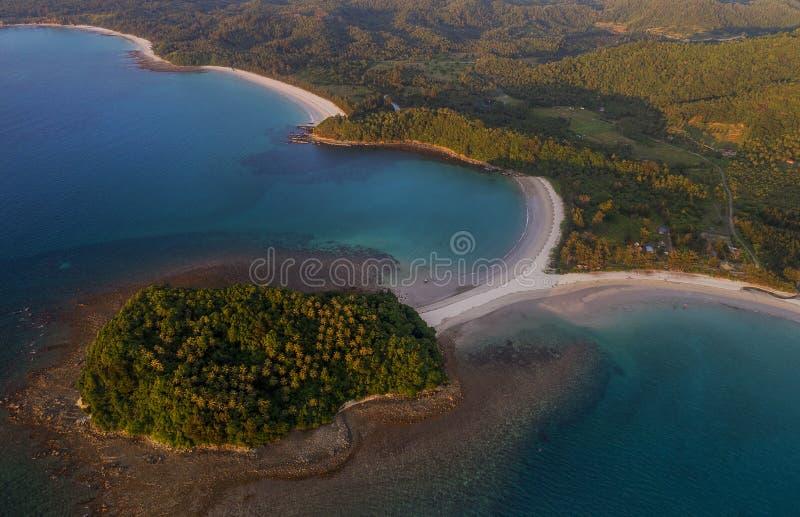 Piękny widok z lotu ptaka Pantai plaża w Kudat, Malezja zdjęcie stock