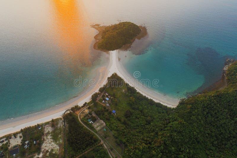Piękny widok z lotu ptaka Pantai plaża w Kudat, Malezja obrazy stock