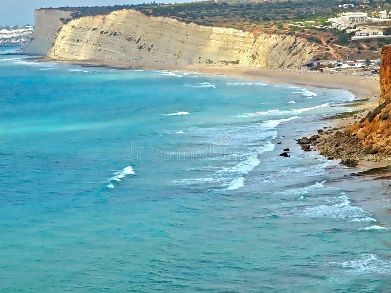 Piękny widok z lotu ptaka Praia da Mos z błękitnym Atlantyckim oceanem obrazy royalty free