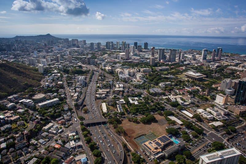 Piękny widok z lotu ptaka Sceniczny W centrum Honolulu Oahu Hawaje zdjęcie stock