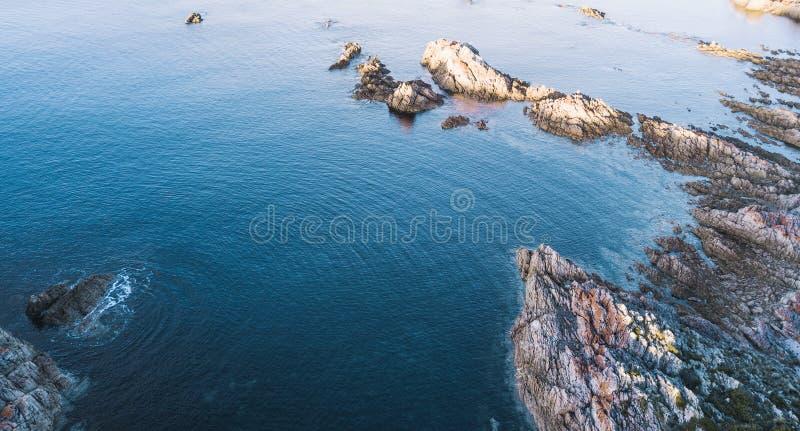 Piękny widok z lotu ptaka Skalisty przylądek, Tasmania obraz royalty free