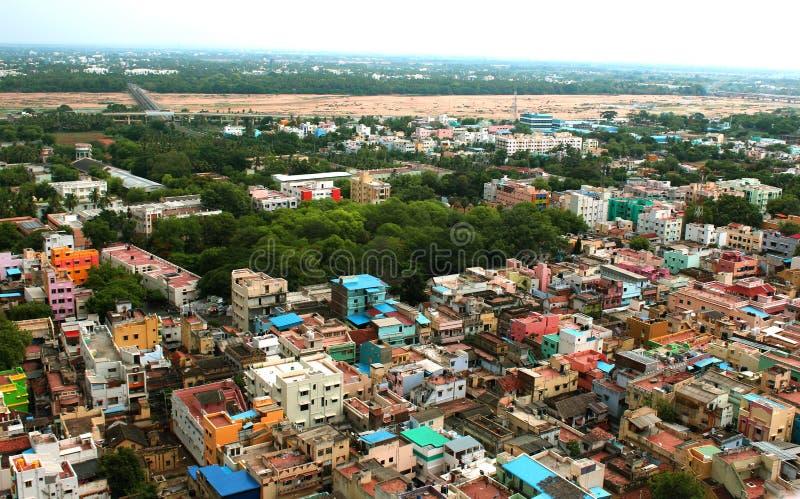 Piękny widok z lotu ptaka trichirappalli miasta domy z cauviri rzeką obrazy royalty free
