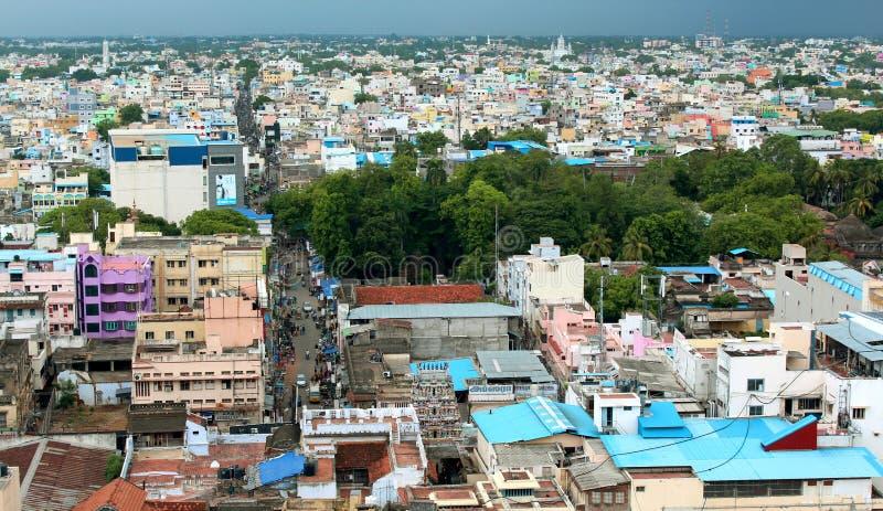 Piękny widok z lotu ptaka trichirappalli miasta domy z chmurnym niebem zdjęcie royalty free
