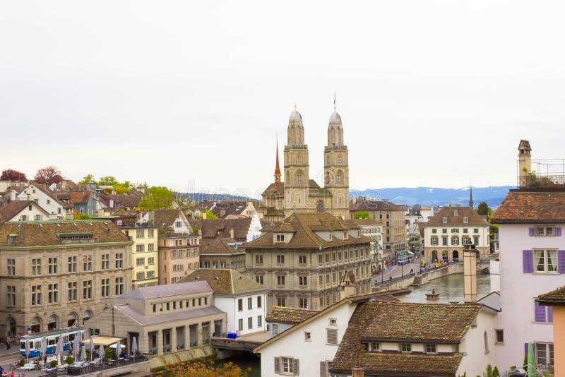 Piękny widok Zurich Limmat i rzeka, Szwajcaria obraz royalty free