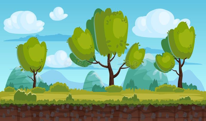 Piękny wiejski krajobraz, pola, drzewa Tło góry, chmury Dla gier, zastosowania, animacje, wektor ilustracji