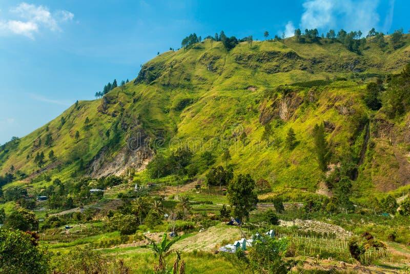 Piękny wiejski krajobrazowy pobliski jeziorny Toba, Północny Sumatra zdjęcia royalty free