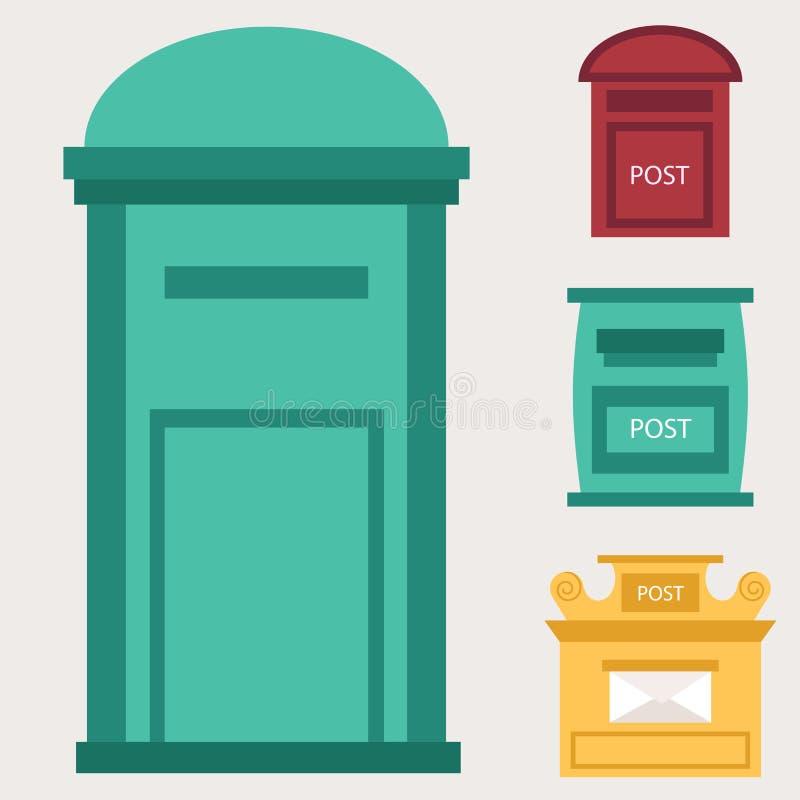 Piękny wiejski krawężnik otwarty i zamknięte pocztowe skrzynki pocztowa z semaforem zaznaczamy postbox wektoru ilustrację ilustracja wektor