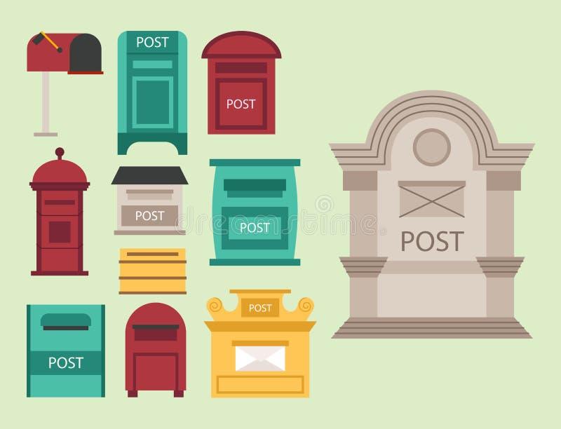 Piękny wiejski krawężnik otwarty i zamknięte pocztowe skrzynki pocztowa z semaforem zaznaczamy postbox wektoru ilustrację royalty ilustracja