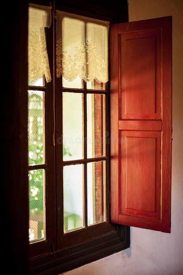 Piękny wiejski okno from inside obrazy stock