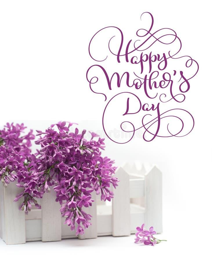 Piękny wiosna bez i mały ogrodzenie na białym Szczęśliwym matka dniu tła i teksta Kaligrafii literowania ręka obrazy stock