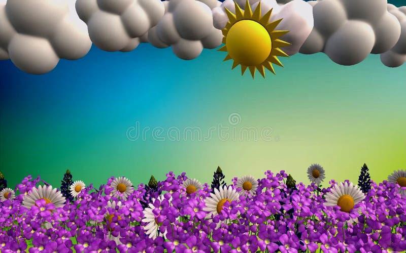 Piękny wiosna krajobraz w 3D formacie ilustracja wektor