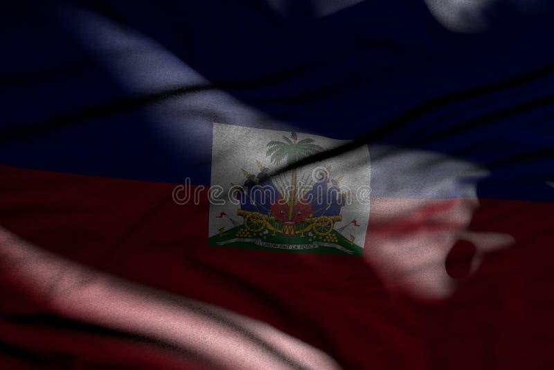 Piękny wizerunek ciemna Haiti flaga z fałdami kłama w cieniach z lekkimi punktami na nim - jakaś świętowanie flagi 3d ilustrację ilustracja wektor