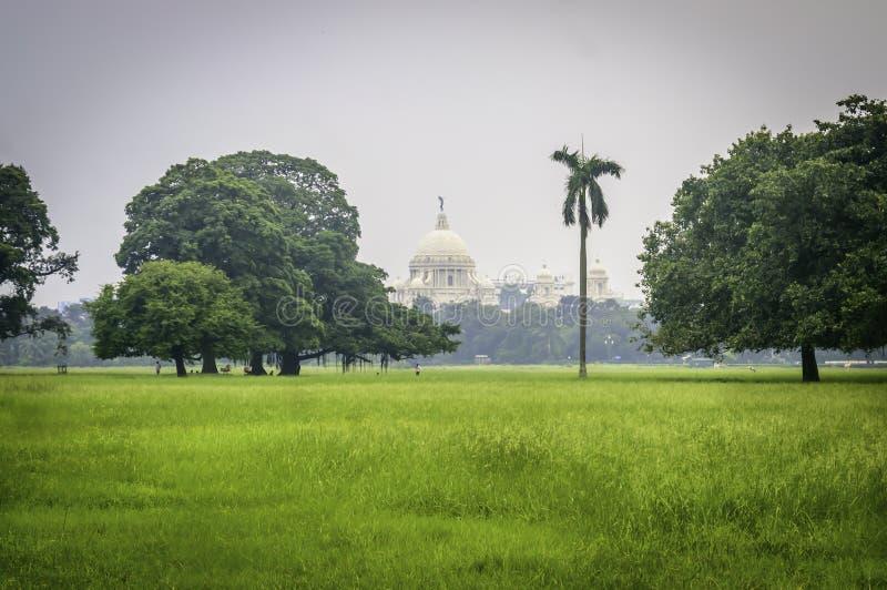 Piękny wizerunek Wiktoria pomnika kłapnięcie od odległości, od Moidan, Kolkata, Calcutta, Zachodni Bengalia, India zdjęcia stock