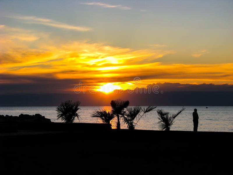 Piękny wschód słońca w Włochy nad morzem zdjęcie stock