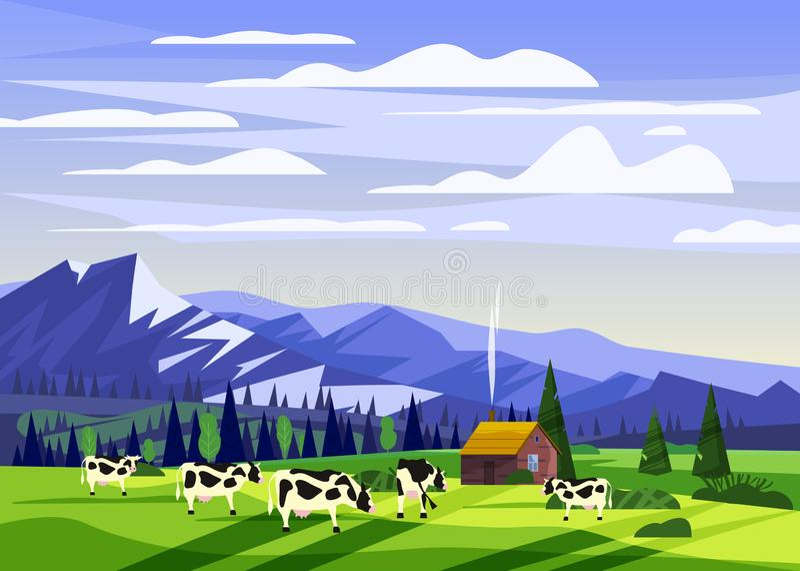 Piękny wsi lata krajobraz, stado krowy gospodarstwa rolnego dolinny wiejski dom, zieleni wzgórza, góra, jaskrawy koloru błękit royalty ilustracja