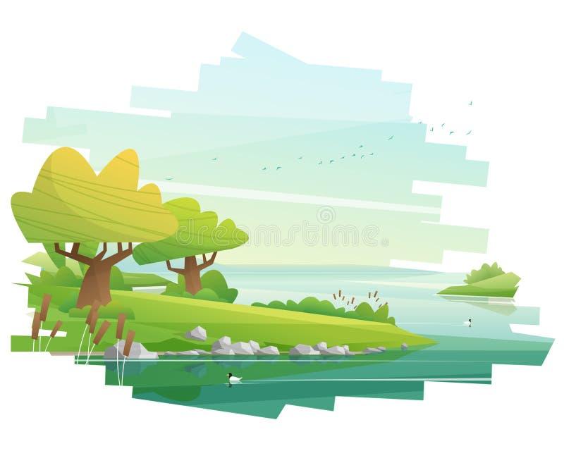 Piękny wsi tło z jeziornym widoku krajobrazem royalty ilustracja