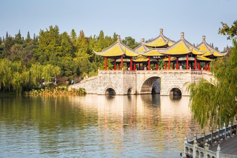Piękny Yangzhou pięć pawilonu most obraz royalty free