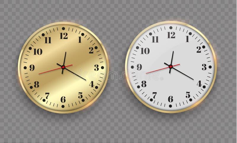 Piękny złocisty ścienny zegar z złotym obdzierganiem Projektuje wielkiego szablon patrzeje ten czas Piękny i oryginalny zegar ilustracja wektor