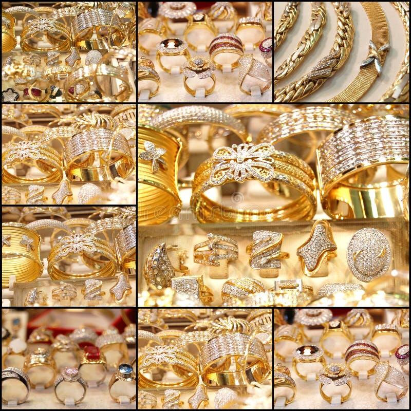 Piękny złoty biżuteria kolaż obraz royalty free