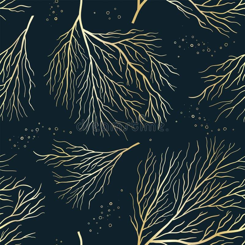 Piękny złoty podwodny wzór bez szwu, ręcznie rysowane eleganckie korale, świetny do odcisków mody, tapety, banery, opakowania - ilustracja wektor