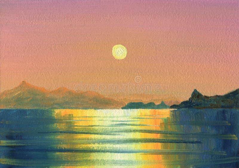 piękny zachód słońca morza lasu obraz olejny krajobrazowa rzeka ilustracja wektor