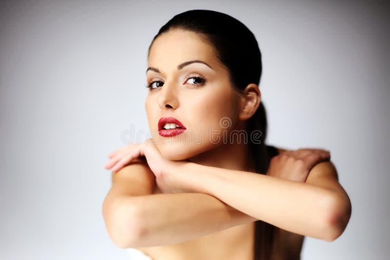 piękny zakończenie target954_0_ w górę kobiety potomstw obraz stock