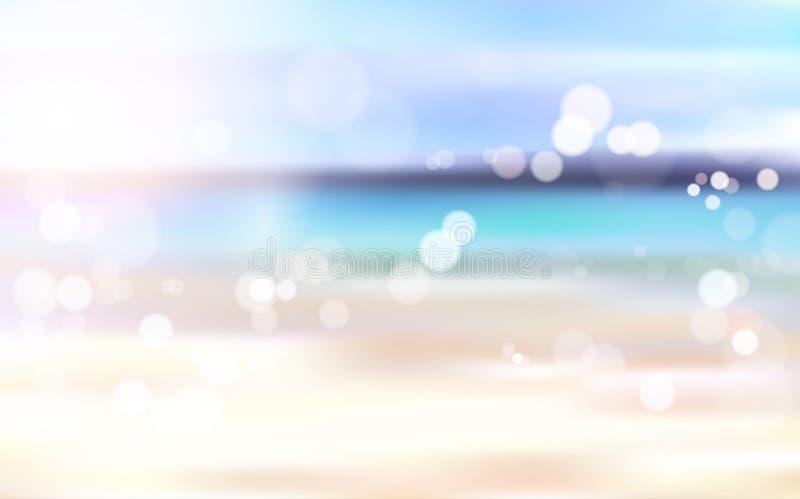 Piękny Zamazany Plażowy nadmorski Bokeh krajobrazu tło ilustracji