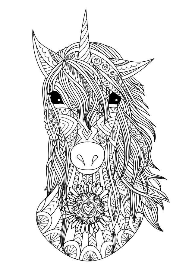 Piękny zendoodle stylizująca jednorożec głowa ilustracji