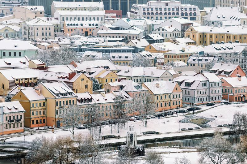 Piękny zima widok stary miasteczko Białoruś fotografia royalty free